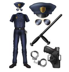 policeman uniform ammunition cartoon set vector image