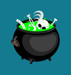 pot with magical potion and bones and skull witch vector image