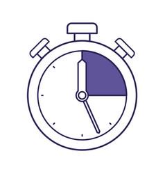 purple line contour of stopwatch icon vector image