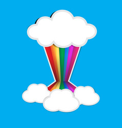 rainbow paper and cloud paper with shadow on blue vector image