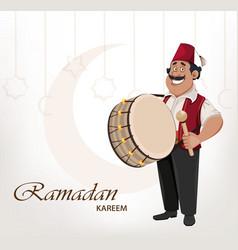 Ramadan drummer cheerful cartoon character vector