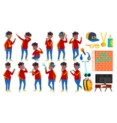 rap bottle singer boy schoolboy poses set vector image