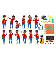 Rap bottle singer boy schoolboy poses set vector