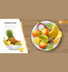 realistic fresh healthy summer food concept vector image