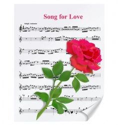 red rose on notesheet vector image