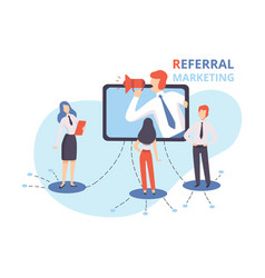 referral marketing businessman shouting in vector image