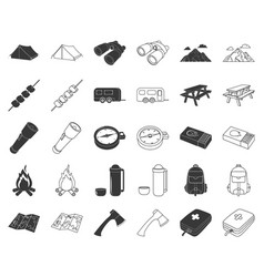 Rest in the camping blackoutline icons in set vector