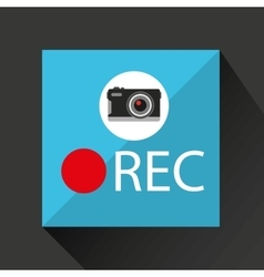 retro camera photographic rec button vector image