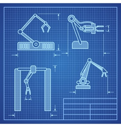 Robot arms blueprint machine industrial robotic vector