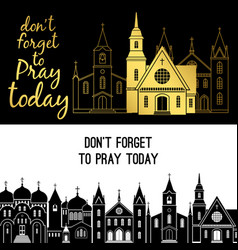 Rraying banners with churches vector