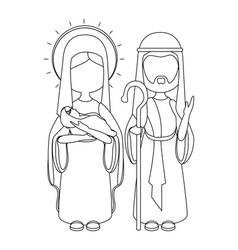 saint joseph and virgin mary vector image