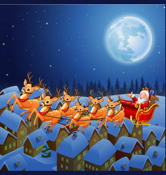 santa riding his reindeer sleigh flying in the sky vector image