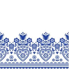 Scandinavian folk art greeting card pattern vector