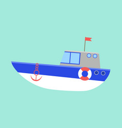 sea transport isolated on a blue background boat vector image