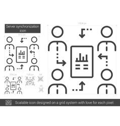 Server synchronization line icon vector
