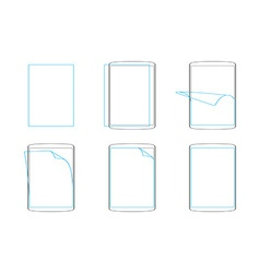 Set apply screen protector flat icons vector
