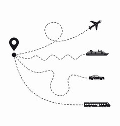 set of simple travel icons vector image