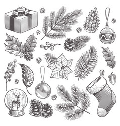sketch decoration xmas set christmas hand drawn vector image