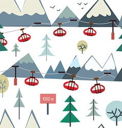 ski sport and mountains seamless pattern vector image