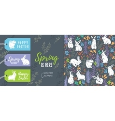 spring collection set easter tags and seamless vector image