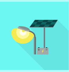 street light solar battery icon flat style vector image