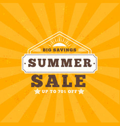 summer sale banner typographic retro style summer vector image