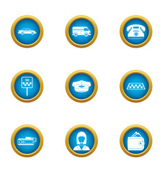 taxi agency icons set flat style vector image