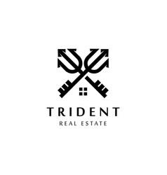 trident logo symboltrident home real estate logo vector image