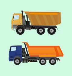 Two large tippers colored in flat style vector