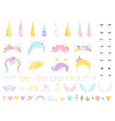 unicorn face fairy tale pony head horn eyes ear vector image