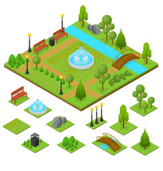 Urban park and part set isometric view vector