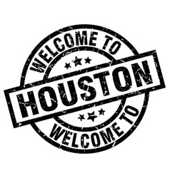 welcome to houston black stamp vector image