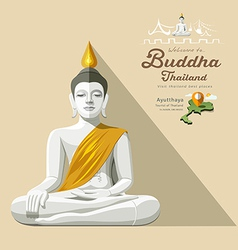 White Buddha and yellow robe of Thailand vector