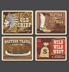 wild west and western retro posters vector image