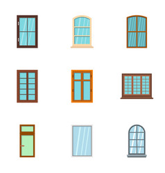window icon set flat style vector image