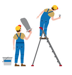 Workers put plaster on a stepladder vector
