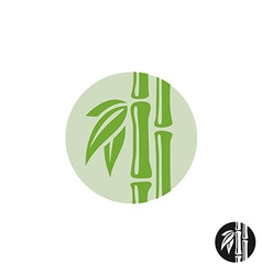 Bamboo logo Leaves and stem in a round badge vector image vector image