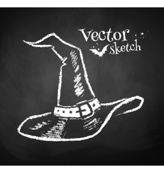 Chalkboard drawing of witches hat vector image