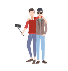 two young men dressed in stylish clothing standing vector image vector image