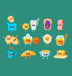 funny breakfast comic characters sett food for vector image vector image