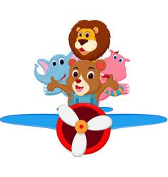 funny cartoon animals riding a plane vector image vector image