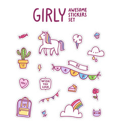 girly awesome sticker set vector image vector image