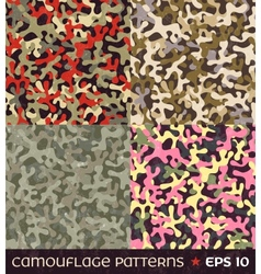 Set of camouflage seamless patterns vector image