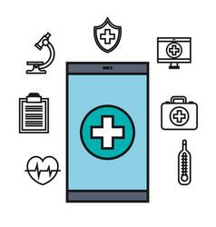 Smartphone medical technology app online design vector