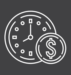 Time is money line icon business and finance vector