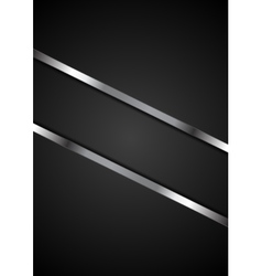 Abstract black background with metallic stripes vector image vector image