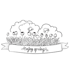 banner with tulips vector image
