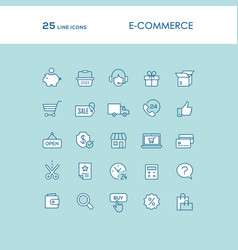 Blue online shopping line icons set vector