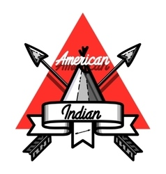 Color vintage american indian emblem vector image vector image