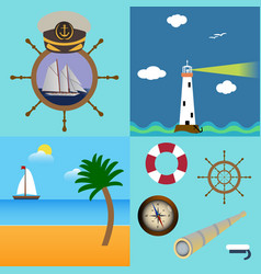four sea set with description of lighthouse boat vector image vector image